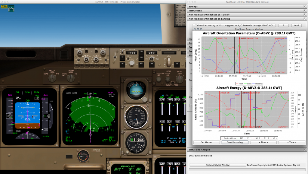 With the simulator frozen, we can look at the analysis plots in the RealShear window. We are shown two plots, one for the aircraft axis parameters and the other one showing all parameters that are important for managing aircraft energy.