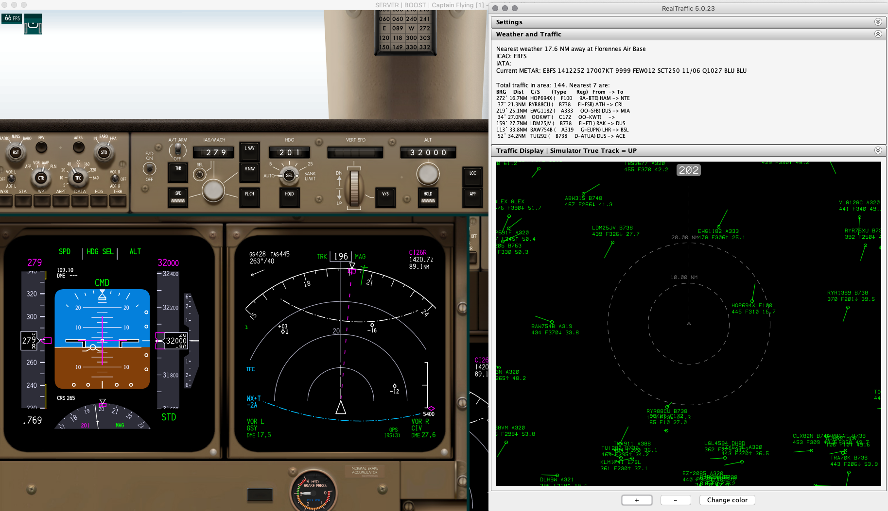 Descending into Paris. The real world traffic is visible both in the TCAS as well as the RealTraffic radar display.